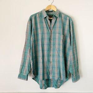 Vintage 100% cotton Plaid Flannel Button Down L